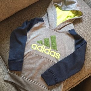Adidas Hooded Sweatshirt size 5 gray navy neon